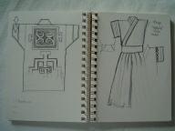Second sketch: Haori (back), inner top and Hakama