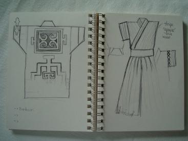 Second sketch: Haori (back), inner top and Hakama