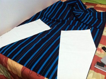 Cotton weaved textile representing the Apayao province in the Cordillera regions of the Philippines. Making the jinbei top–fabric pattern on angle.